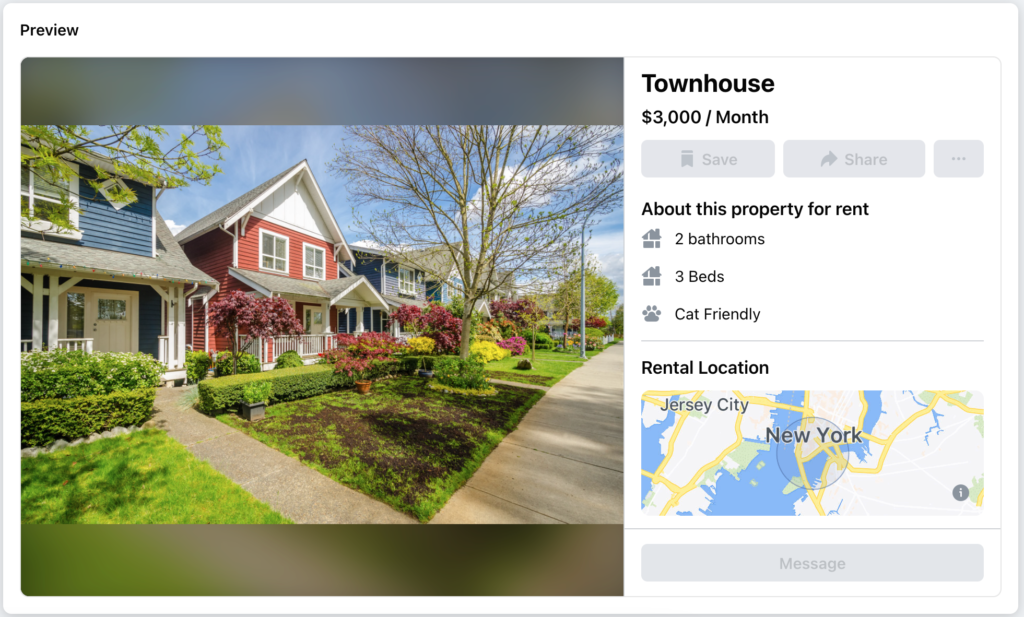 free rental listing sites: example of what a facebook marketplace apartment for rent preview looks like
