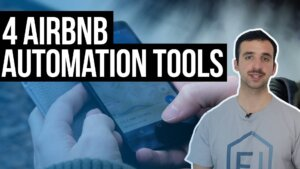 youtube thumbnail, text reads: 4 Tools To Automate Your Airbnb Business